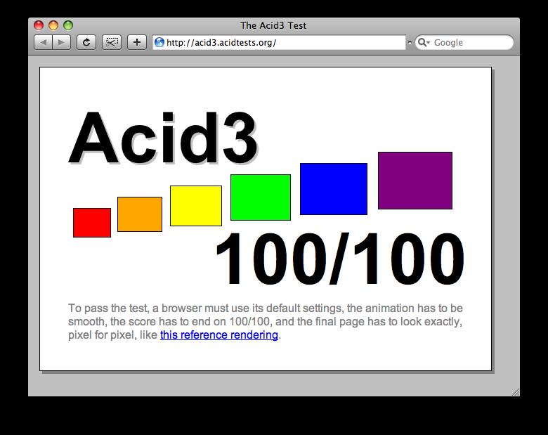 acid3 1002 - WebKit atteint 100% au test Acid3 !