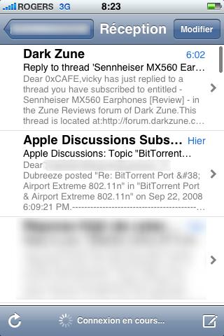 """iphone inbox no new22 - iPhone et courriel """"push"""", une impasse"""