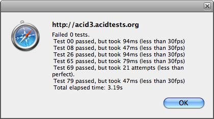 WebKit sur l'Acid3 Animation (anciens résultats)