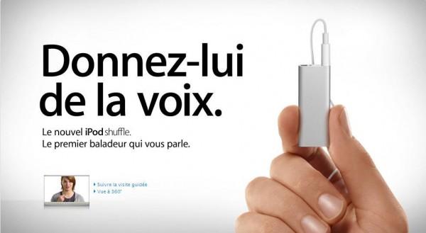 """ipod shuffle avec voiceover 600x329 - Nouvel Apple Shuffle de 4Go avec """"VoiceOver"""""""