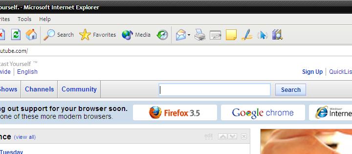 Youtube et Digg abandonnent Internet Explorer 6
