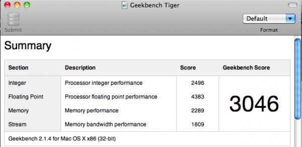 GeekBench Tiger 600x293 - Snow Leopard :: Résultats d'une migration de Tiger à Snow Leopard