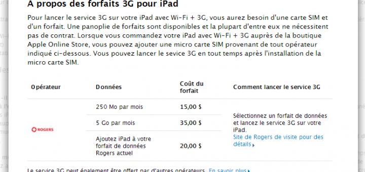 iPad WiFi + 3G disponible en pré-commande