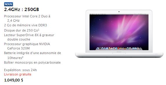Nouveau MacBook sur l'Apple Store