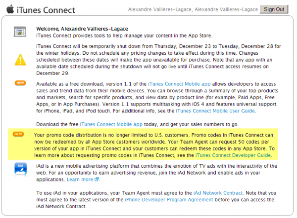 promo code 600x442 - Les promo codes App Store, maintenant mondial!