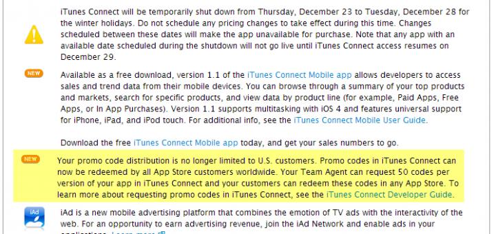 Les promo codes App Store, maintenant mondial!