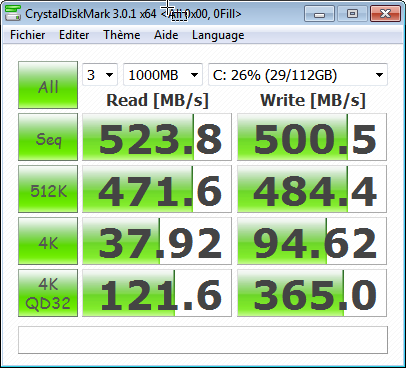 kingston hyperx ssd crystaldisk benchmark 0fill - Disque SSD Kingston HyperX 120Go [Test]