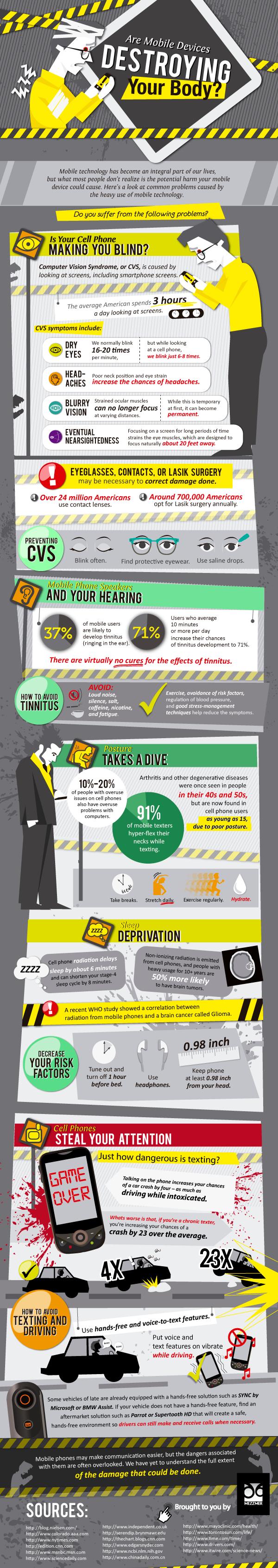 mobiles telephones impact sante gnd geek - Est-ce que vos gadgets détruisent votre santé? [Infographique]
