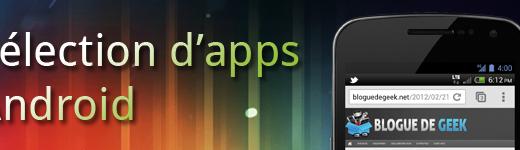 Sélection applications mobile sur Android