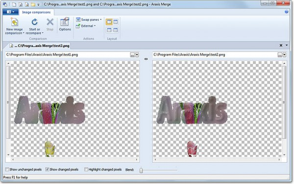 ComparedImagesChangedPixels 600x375 - Araxis Merge, comparer, fusionner et même avec des dossiers
