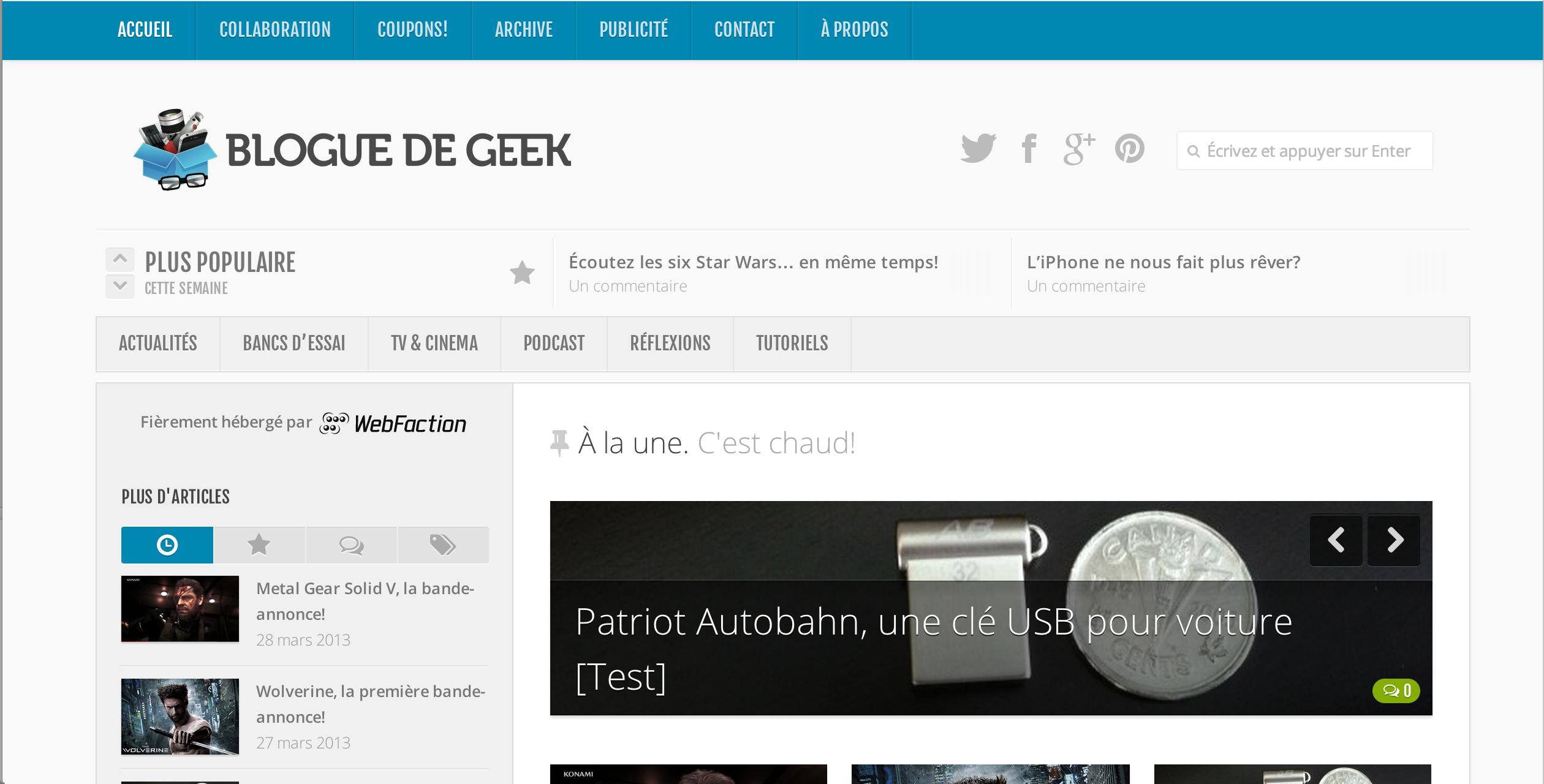 blogue de geek v3 screenshot - Le Blogue de Geek v.3.0 est en-ligne!