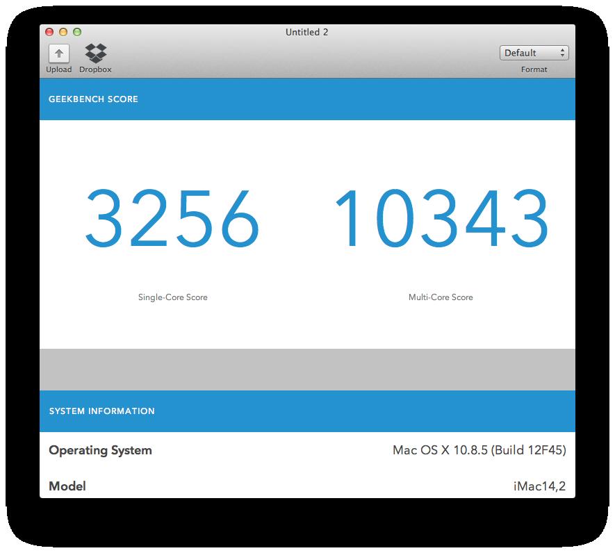 geekbench imac 27 late 2013 - Test du iMac (2013) d'Apple