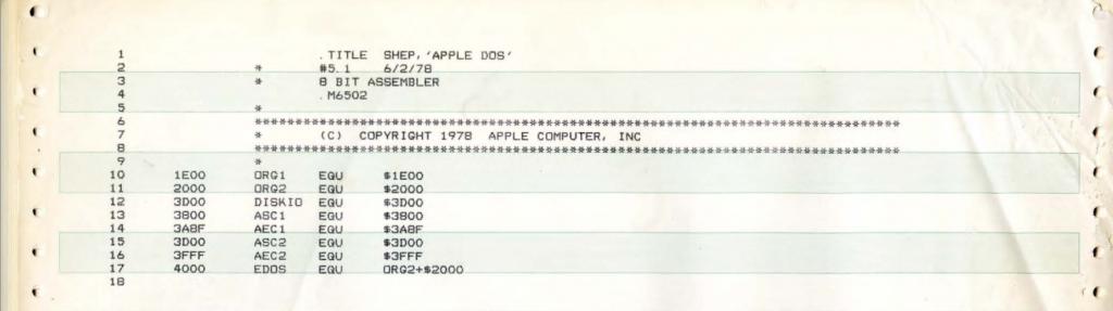 listing 1024x287 - Le code source de l'Apple ][ offert au musée