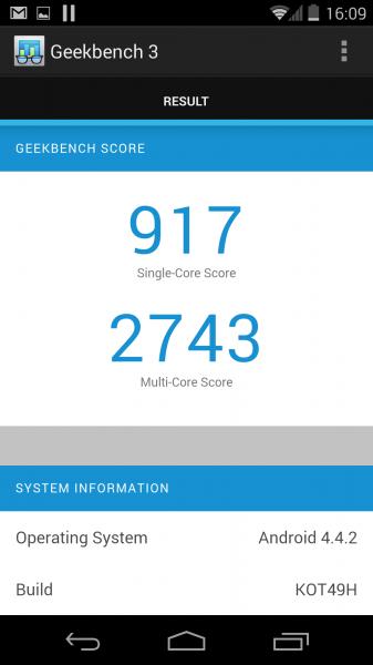 Geekbench 3 et le Nexus 5