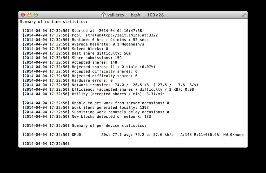 dualminer usb 2 mining 1024x666 - Test du DualMiner USB 2, une version Scrypt uniquement