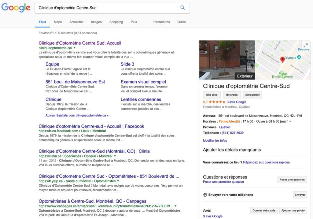 clinique optometrie google local o 1024x716 - Les avantages d'une agence web dans votre projet web